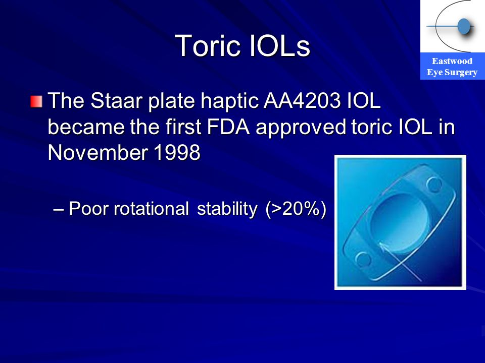 Eastwood Eye Surgery Toric IOLs The Staar plate haptic AA4203 IOL became the first FDA approved toric IOL in November 1998 –Poor rotational stability