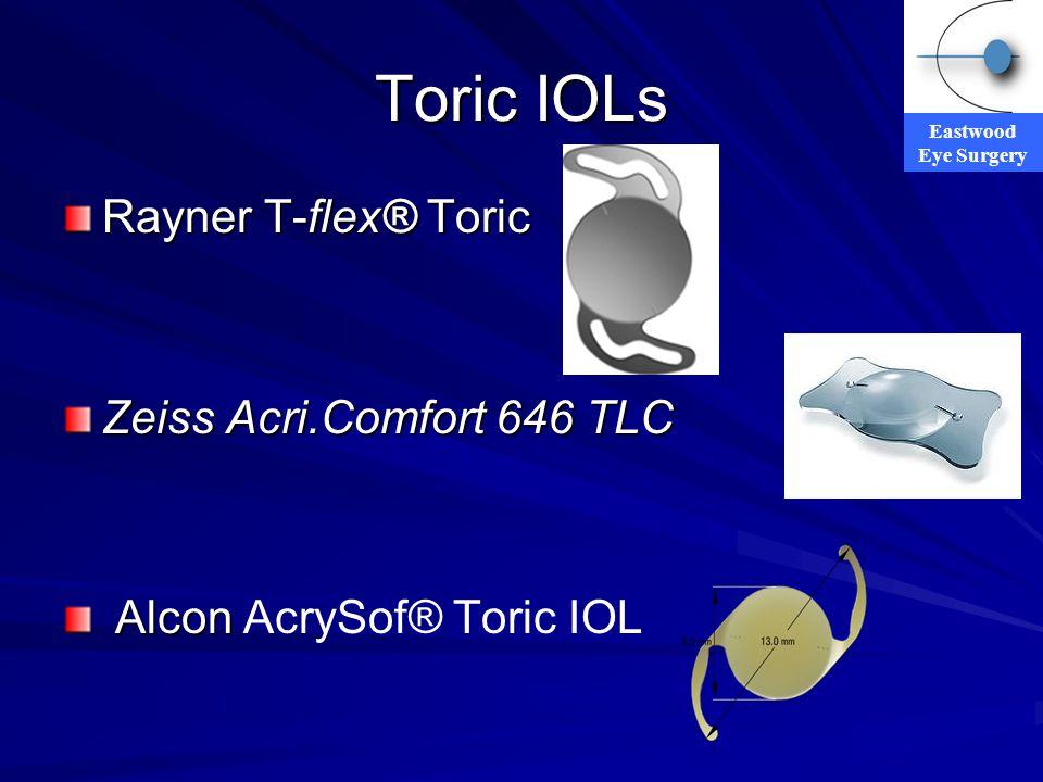 Eastwood Eye Surgery Toric IOLs Rayner T-flex® Toric Zeiss Acri.Comfort 646 TLC Alcon Alcon AcrySof® Toric IOL