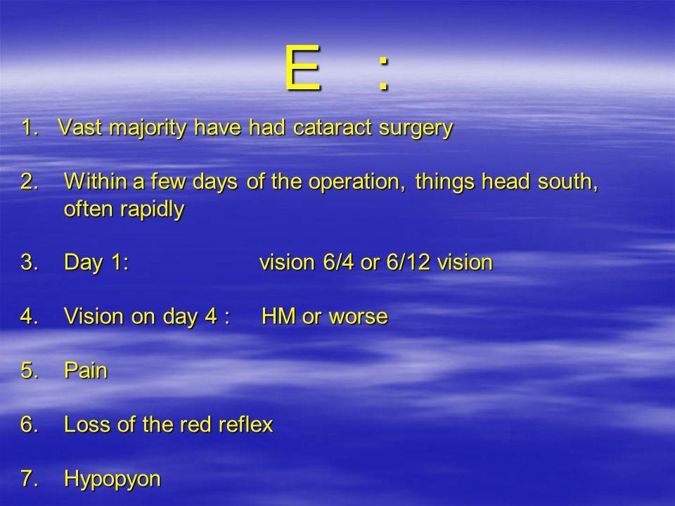 E : 1. Vast majority have had cataract surgery 2.