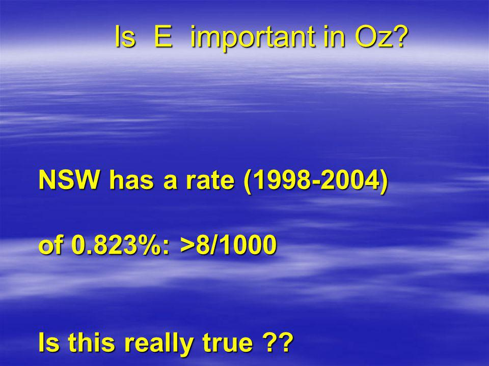 Is E important in Oz NSW has a rate (1998-2004) of 0.823%: >8/1000 Is this really true