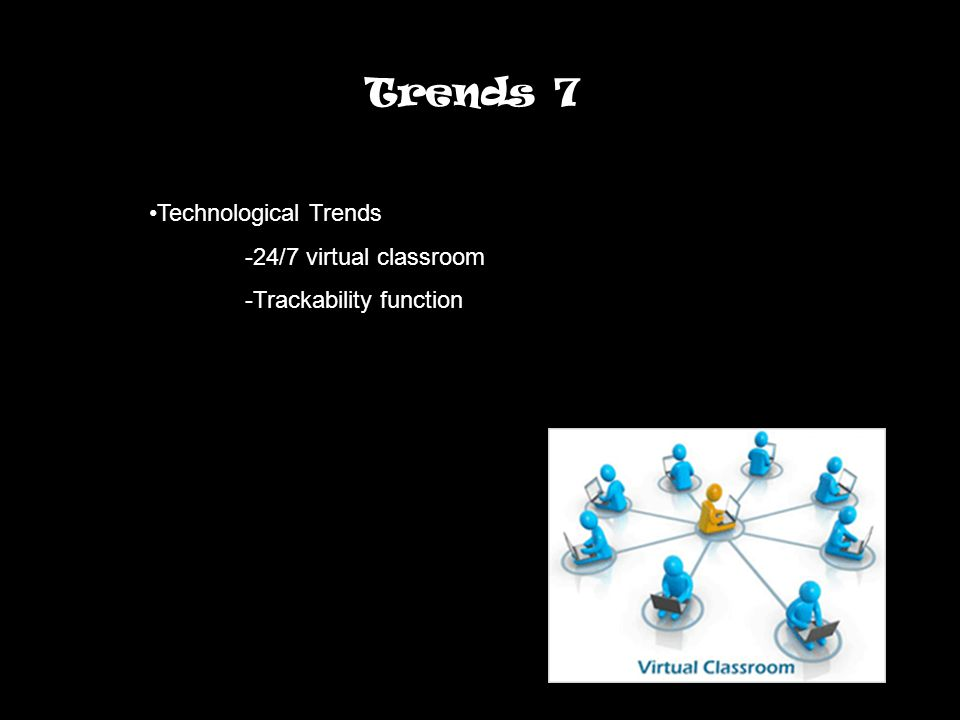 Trends 7 Technological Trends -24/7 virtual classroom -Trackability function
