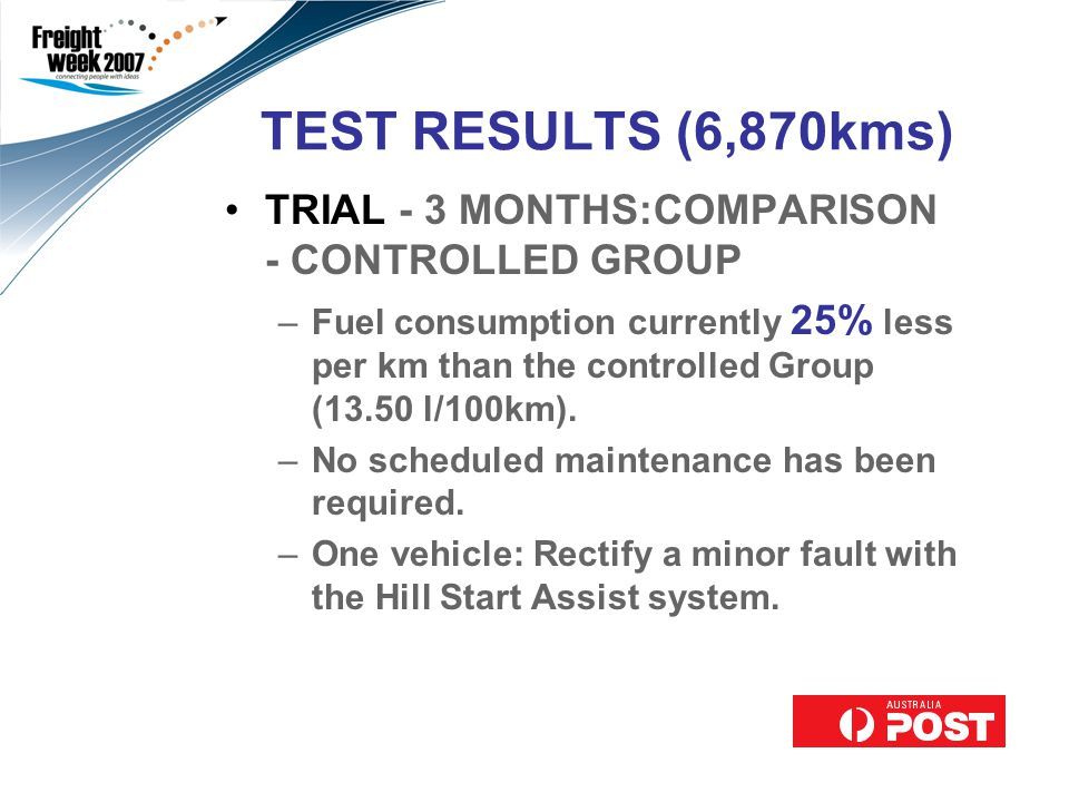 TEST RESULTS (6,870kms) TRIAL - 3 MONTHS:COMPARISON - CONTROLLED GROUP –Fuel consumption currently 25% less per km than the controlled Group (13.50 l/100km).