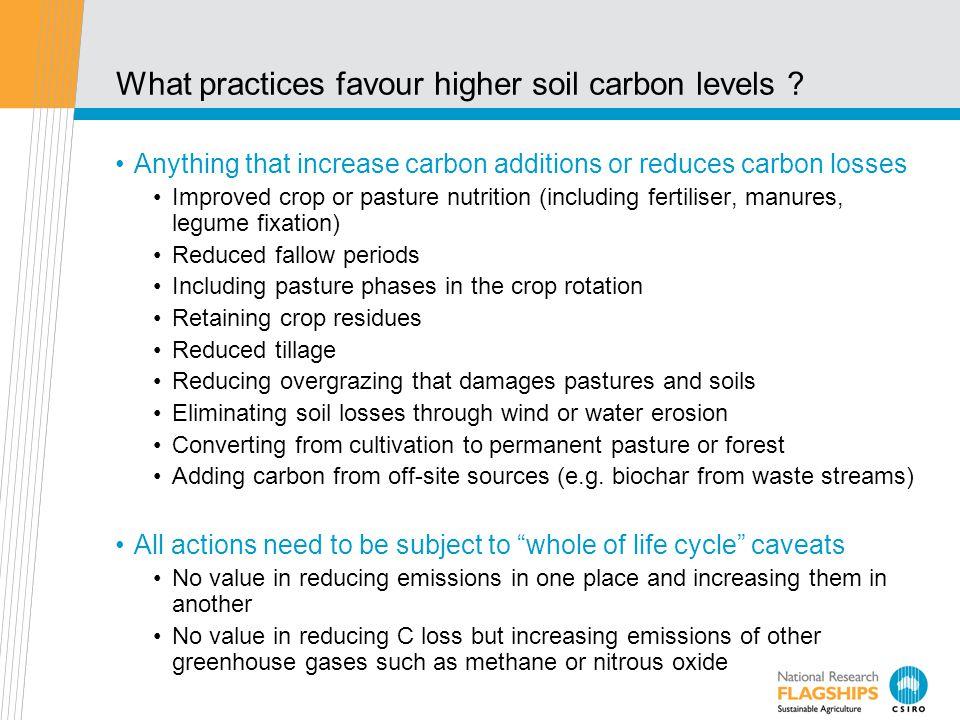 What practices favour higher soil carbon levels .
