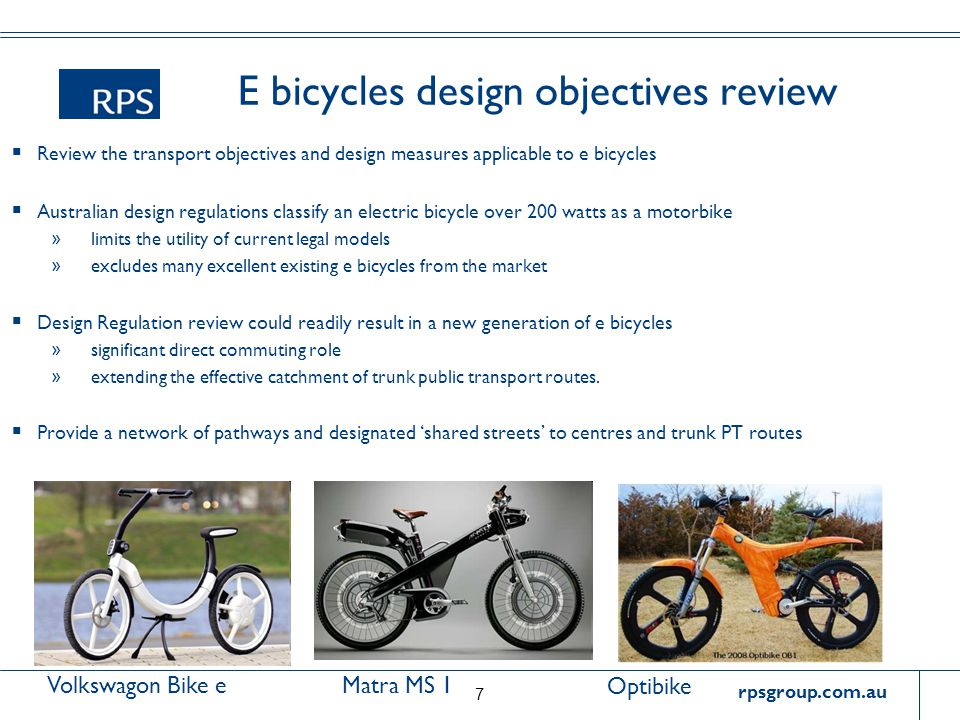 rpsgroup.com.au E bicycles design objectives review  Review the transport objectives and design measures applicable to e bicycles  Australian design
