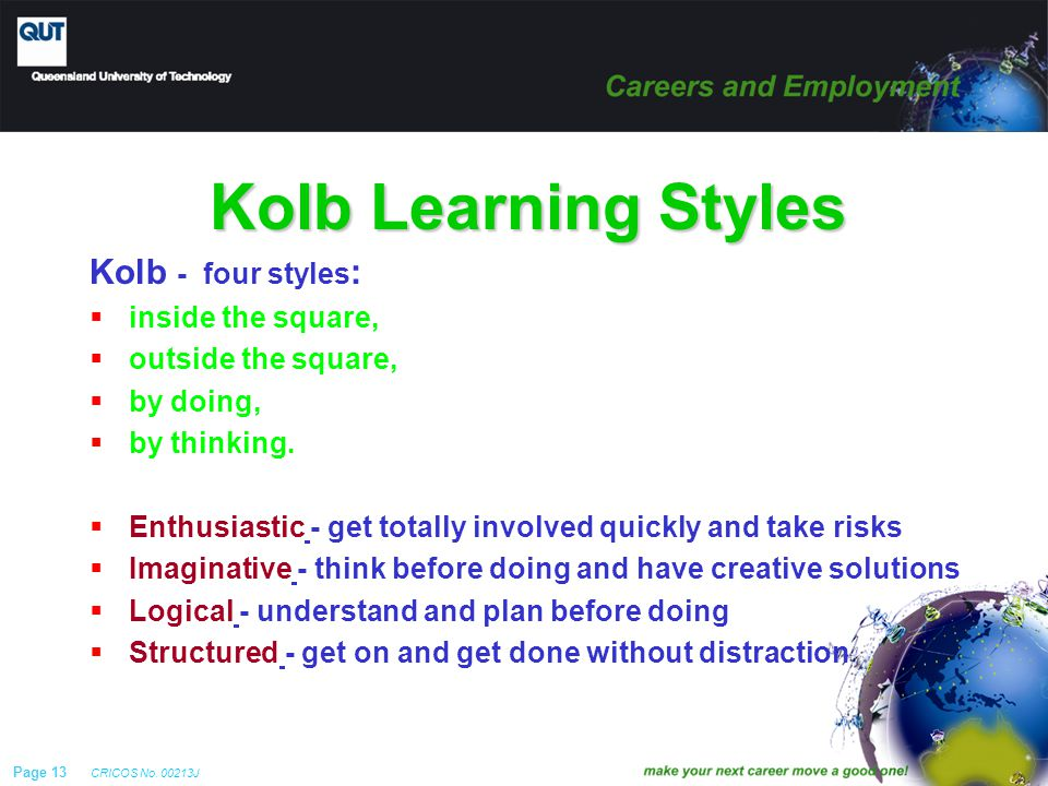 Page 13 CRICOS No. 00213J Kolb Learning Styles Kolb - four styles :  inside the square,  outside the square,  by doing,  by thinking.  Enthusiast