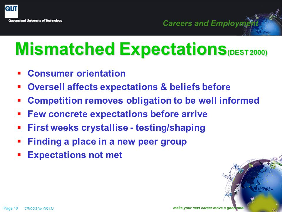 Page 19 CRICOS No. 00213J Mismatched Expectations (DEST 2000)  Consumer orientation  Oversell affects expectations & beliefs before  Competition re