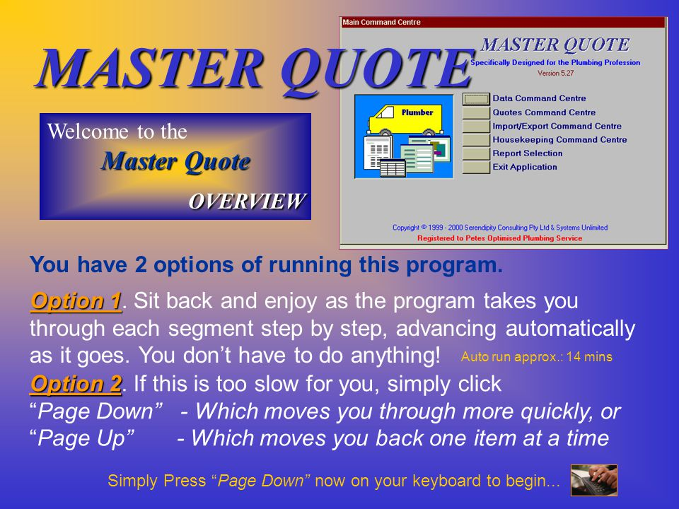 MASTER QUOTE …providing Superior Quoting Systems for Australian Industry .