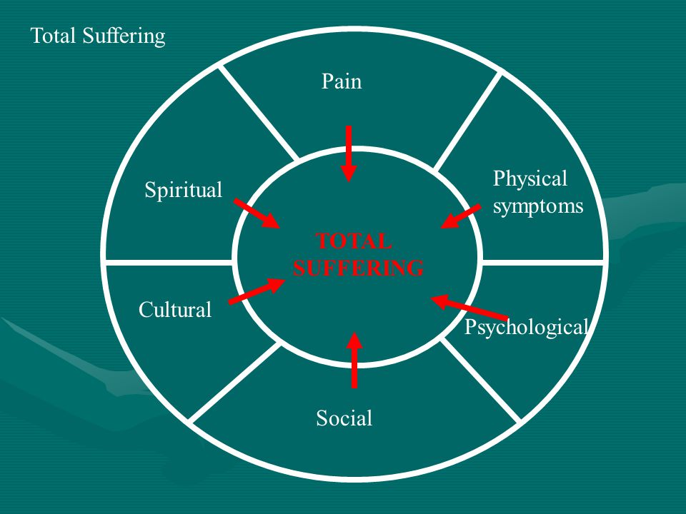TOTAL SUFFERING Physical symptoms Psychological Social Cultural Spiritual Pain Total Suffering