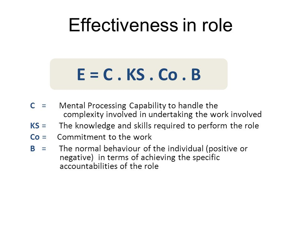 Effectiveness in role C = Mental Processing Capability to handle the complexity involved in undertaking the work involved KS = The knowledge and skill