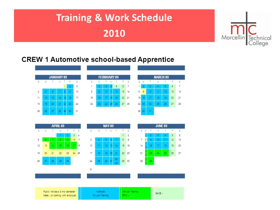 Training & Work Schedule 2010 CREW 1 Automotive school-based Apprentice JANUARY 09FEBRUARY 09MARCH 09 SMTWTFSSMTWTFSSMTWTFS 12312345671234567 4567891089 11121314891011121314 111213141516171516171819202115161718192021 181920212223242223242526272822232425262728 25262728293031293031 APRIL 09MAY 09JUNE 09 SMTWTFSSMTWTFSSMTWTFS 123412123456 567891011345678978910111213 121314151617181011121314151614 1515 1617181920 1920212223242517181920212223212 2324252627 262728293024252627 90 28 293028 2929 30 31 Public holidays & mid semester break ( or working with employer) Worksite On Job Training Off Job Training RTO – SACE -