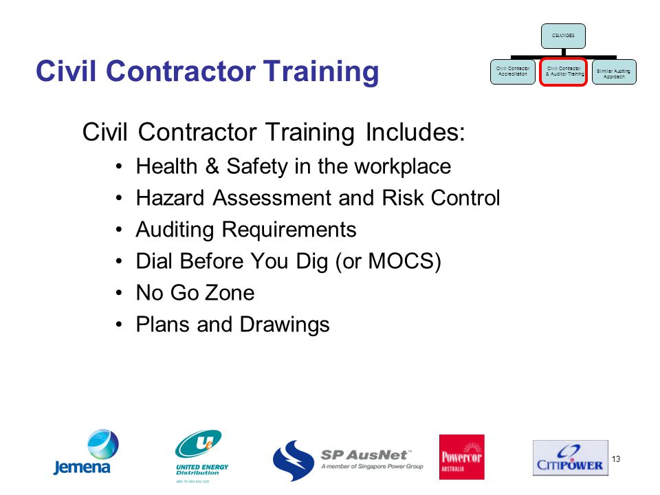 13 Civil Contractor Training Civil Contractor Training Includes: Health & Safety in the workplace Hazard Assessment and Risk Control Auditing Requirements Dial Before You Dig (or MOCS) No Go Zone Plans and Drawings CHANGES Civil Contractor Accreditation Civil Contractor & Auditor Training Similar Auditing Approach