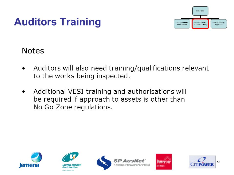 16 Auditors Training Notes Auditors will also need training/qualifications relevant to the works being inspected.