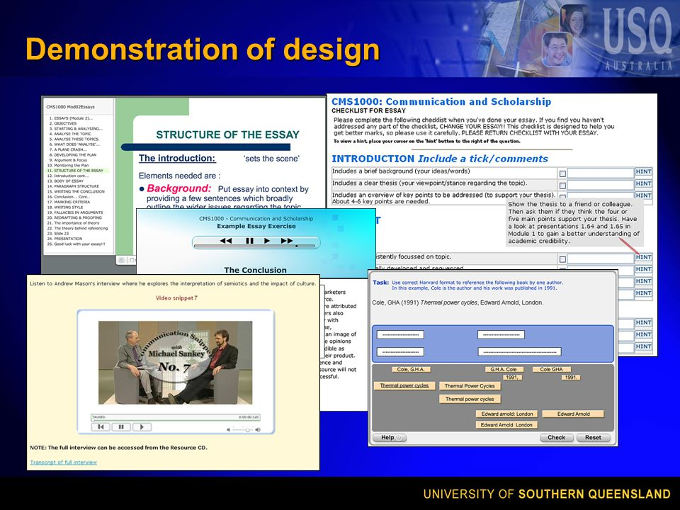 Demonstration of design