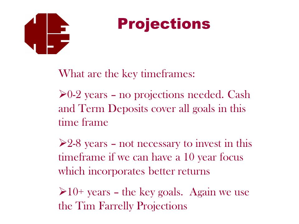 Projections What are the key timeframes:  0-2 years – no projections needed.