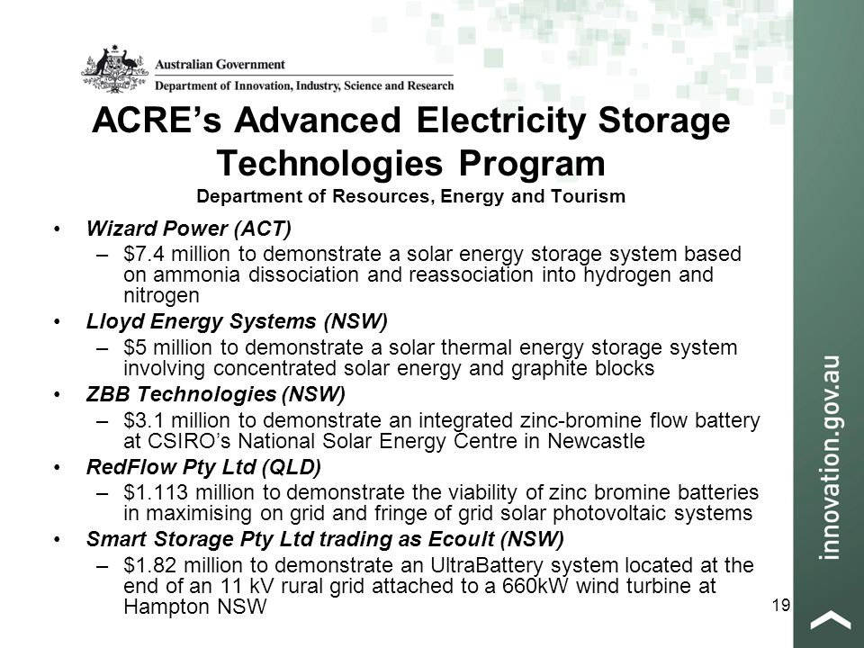 19 ACRE's Advanced Electricity Storage Technologies Program Department of Resources, Energy and Tourism Wizard Power (ACT) –$7.4 million to demonstrate a solar energy storage system based on ammonia dissociation and reassociation into hydrogen and nitrogen Lloyd Energy Systems (NSW) –$5 million to demonstrate a solar thermal energy storage system involving concentrated solar energy and graphite blocks ZBB Technologies (NSW) –$3.1 million to demonstrate an integrated zinc-bromine flow battery at CSIRO's National Solar Energy Centre in Newcastle RedFlow Pty Ltd (QLD) –$1.113 million to demonstrate the viability of zinc bromine batteries in maximising on grid and fringe of grid solar photovoltaic systems Smart Storage Pty Ltd trading as Ecoult (NSW) –$1.82 million to demonstrate an UltraBattery system located at the end of an 11 kV rural grid attached to a 660kW wind turbine at Hampton NSW