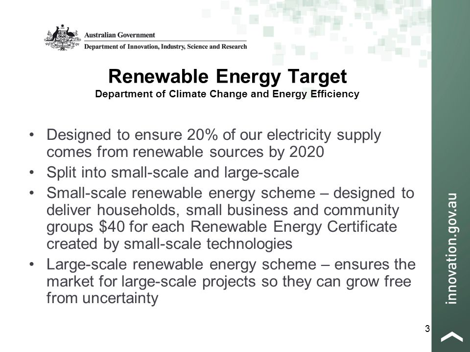 3 Renewable Energy Target Department of Climate Change and Energy Efficiency Designed to ensure 20% of our electricity supply comes from renewable sources by 2020 Split into small-scale and large-scale Small-scale renewable energy scheme – designed to deliver households, small business and community groups $40 for each Renewable Energy Certificate created by small-scale technologies Large-scale renewable energy scheme – ensures the market for large-scale projects so they can grow free from uncertainty