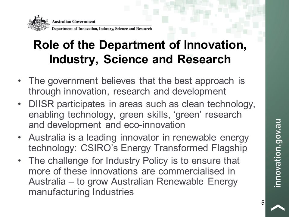 26 Department of Innovation, Industry, Science and Research Industry House 10 Binara Street Canberra City, ACT 2607, Australia Telephone +61 2 6213 6000