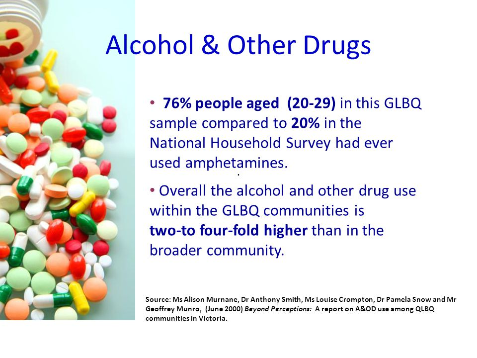 76% people aged (20-29) in this GLBQ sample compared to 20% in the National Household Survey had ever used amphetamines.