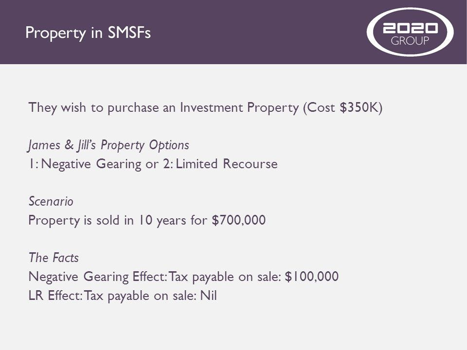 They wish to purchase an Investment Property (Cost $350K) James & Jill's Property Options 1: Negative Gearing or 2: Limited Recourse Scenario Property
