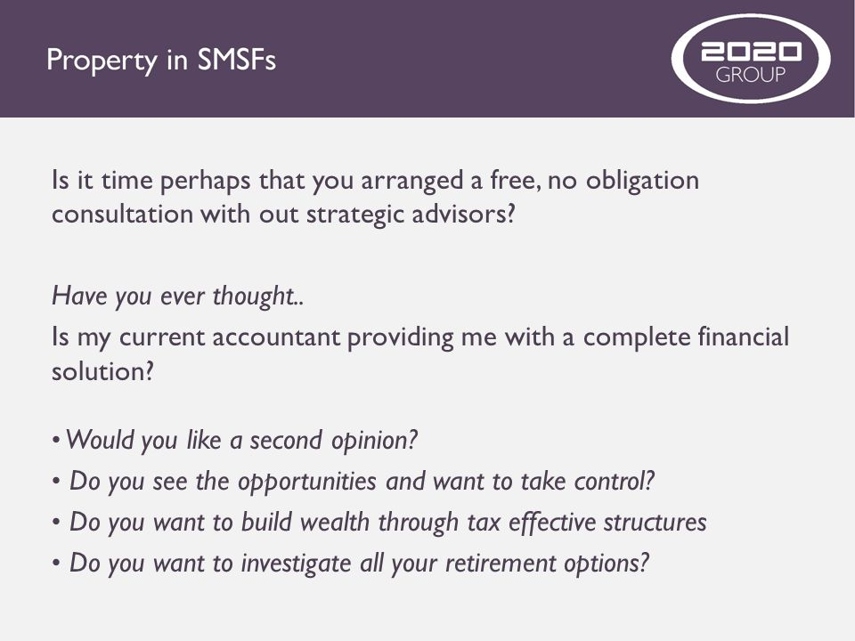 Is it time perhaps that you arranged a free, no obligation consultation with out strategic advisors? Have you ever thought.. Is my current accountant