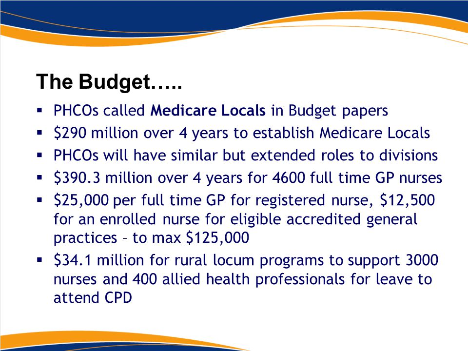 The Budget…..  PHCOs called Medicare Locals in Budget papers  $290 million over 4 years to establish Medicare Locals  PHCOs will have similar but e