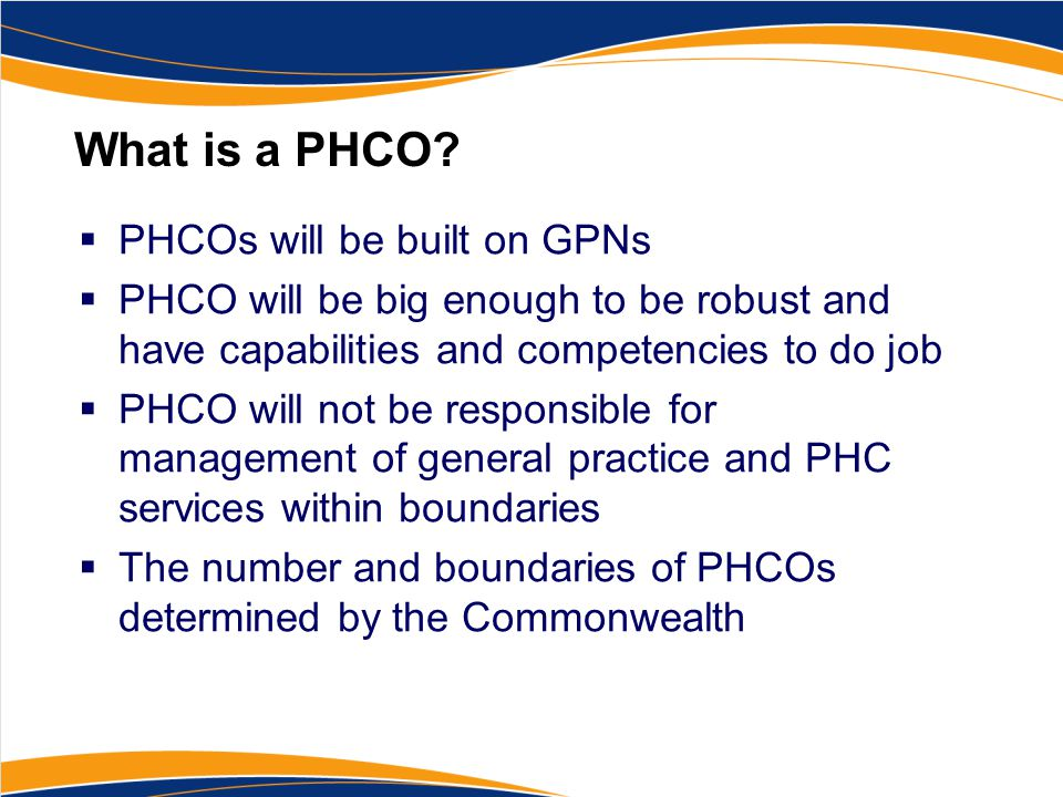 What is a PHCO.