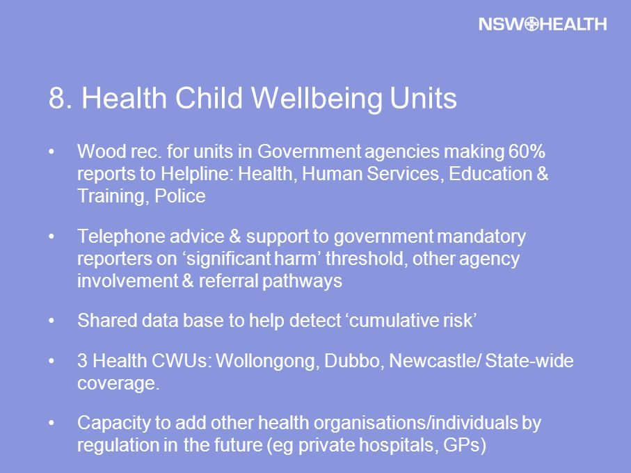 8. Health Child Wellbeing Units Wood rec.