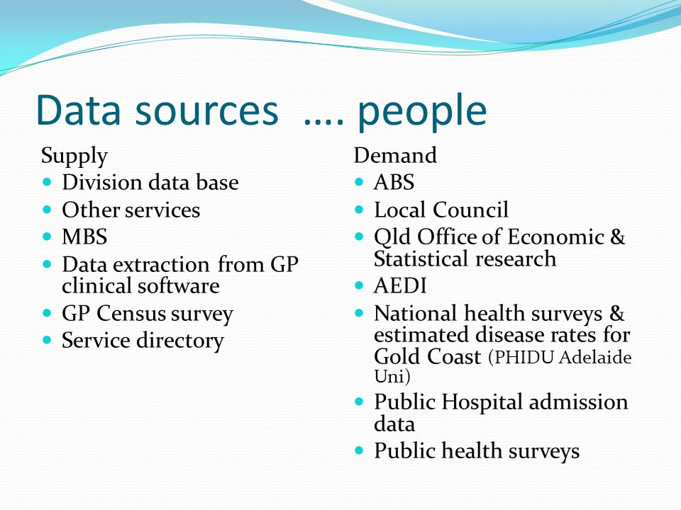 Data sources ….