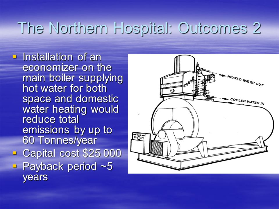 The Northern Hospital: Outcomes 1  Flow control valves could cut hot water consumptions by 35%, and greenhouse emissions by 70 Tonnes CO 2 -e/year  Solar water heating plus demand management would save an additional 58 tonnes/year  Total emission reduction ~1% of hospital's total  Total investment: $210 000  Payback period: Flow control valves - 2 years; solar water heating – just over 10 years
