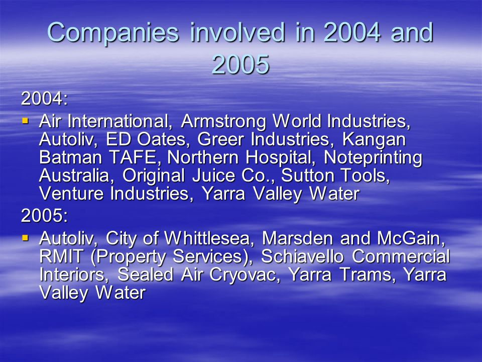 Companies involved in 2006:  P&O Ports  RMIT Property Services  The Age Print Centre  Wentworth Furniture  Yarra Trams  Armstrong World Industries  Bostik  GWA Intl/Caroma  City of Hume  Greer Industries  Hilton Melbourne Airport