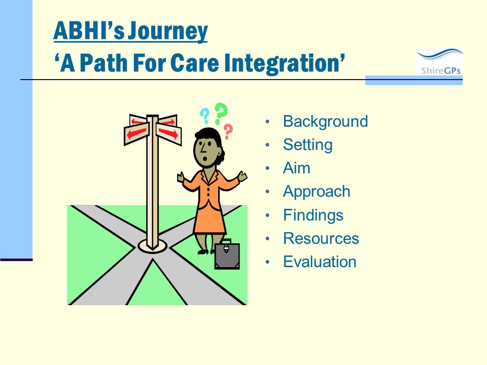 ABHI's Journey 'A Path For Care Integration' Background Setting Aim Approach Findings Resources Evaluation