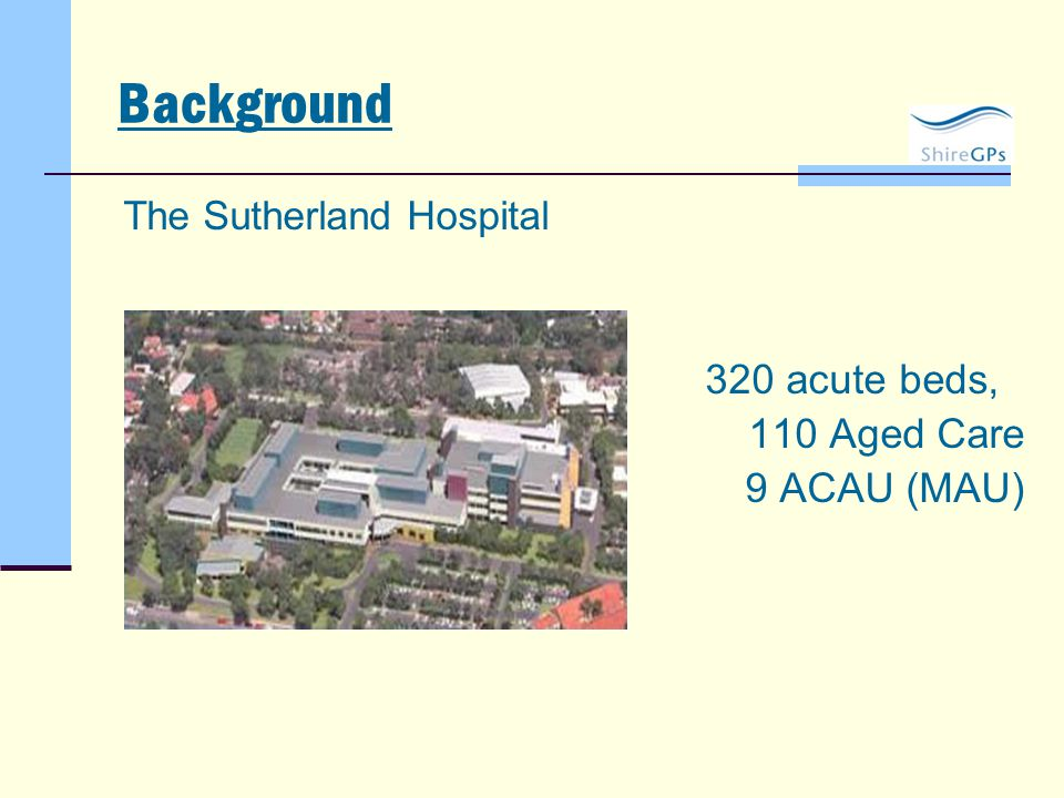 Background The Sutherland Hospital 320 acute beds, 110 Aged Care 9 ACAU (MAU)