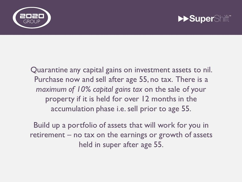 Quarantine any capital gains on investment assets to nil.