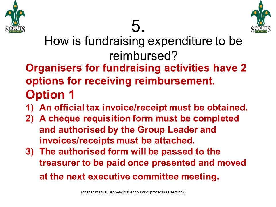 (QBSI (2005) section 2.8.4) 5.Cont. How is fundraising expenditure to be reimbursed.