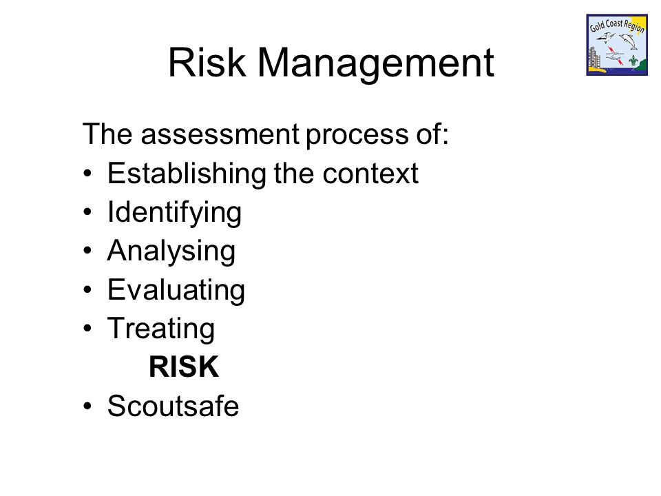 Risk Management The assessment process of: Establishing the context Identifying Analysing Evaluating Treating RISK Scoutsafe