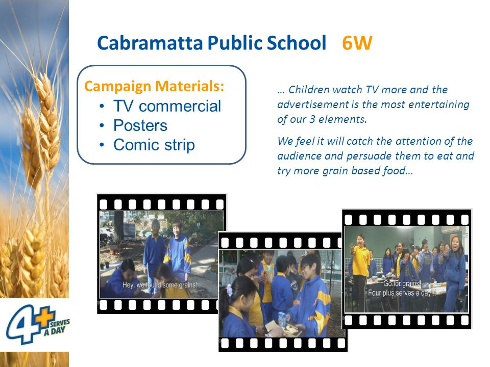 Cabramatta Public School 6W Campaign Materials: TV commercial Posters Comic strip … Children watch TV more and the advertisement is the most entertain