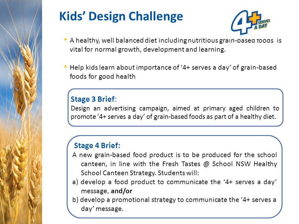 Kids' Design Challenge A healthy, well balanced diet including nutritious grain-based foods is vital for normal growth, development and learning. Help