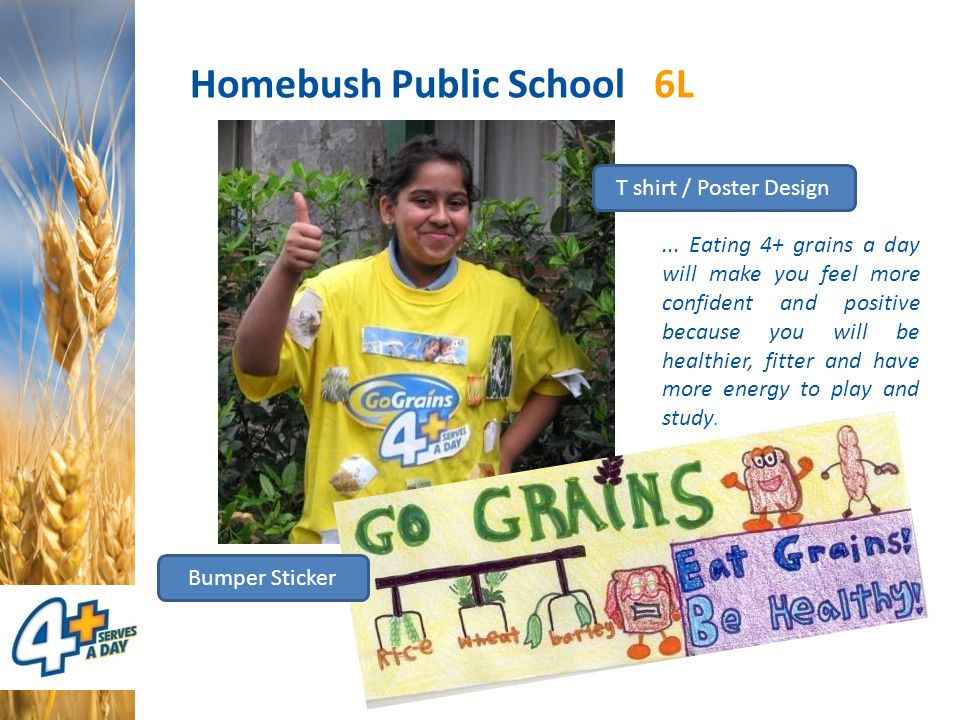 Homebush Public School 6L Bumper Sticker T shirt / Poster Design... Eating 4+ grains a day will make you feel more confident and positive because you