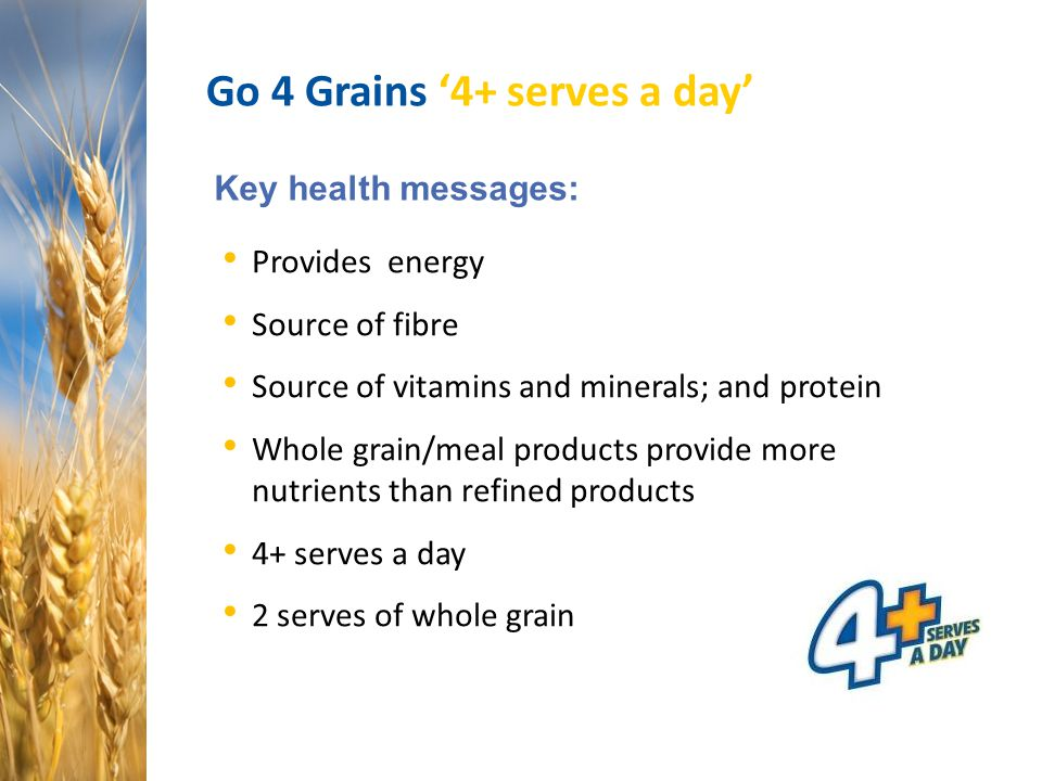 Go 4 Grains '4+ serves a day' Key health messages: Provides energy Source of fibre Source of vitamins and minerals; and protein Whole grain/meal produ