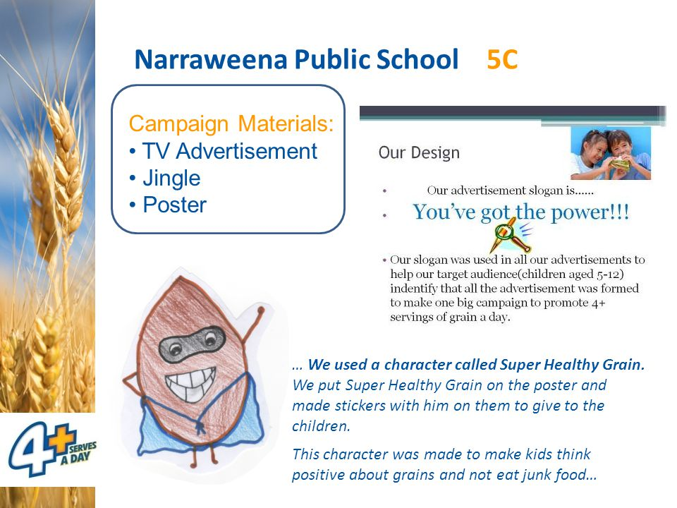 Narraweena Public School 5C Campaign Materials: TV Advertisement Jingle Poster … We used a character called Super Healthy Grain.