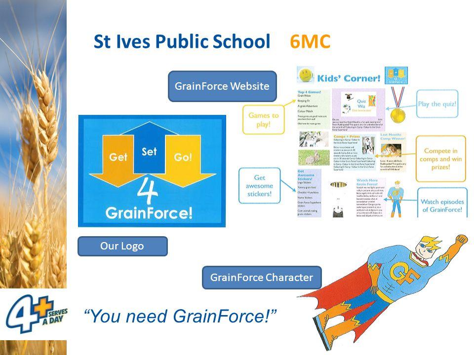 St Ives Public School 6MC GrainForce Website GrainForce Character Our Logo You need GrainForce!