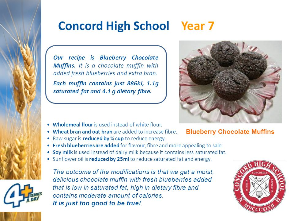 Concord High School Year 7 Our recipe is Blueberry Chocolate Muffins. It is a chocolate muffin with added fresh blueberries and extra bran. Each muffi