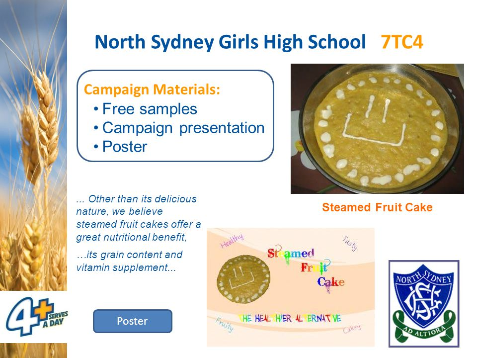 North Sydney Girls High School 7TC4 Campaign Materials: Free samples Campaign presentation Poster Steamed Fruit Cake Poster... Other than its deliciou