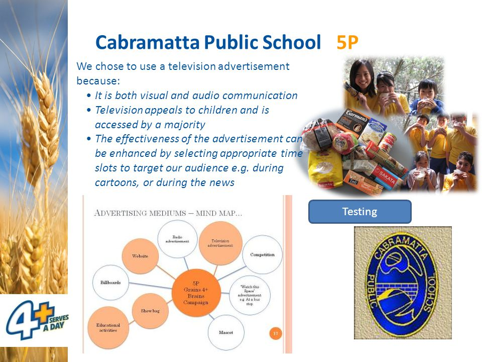 Cabramatta Public School 5P Testing We chose to use a television advertisement because: It is both visual and audio communication Television appeals t