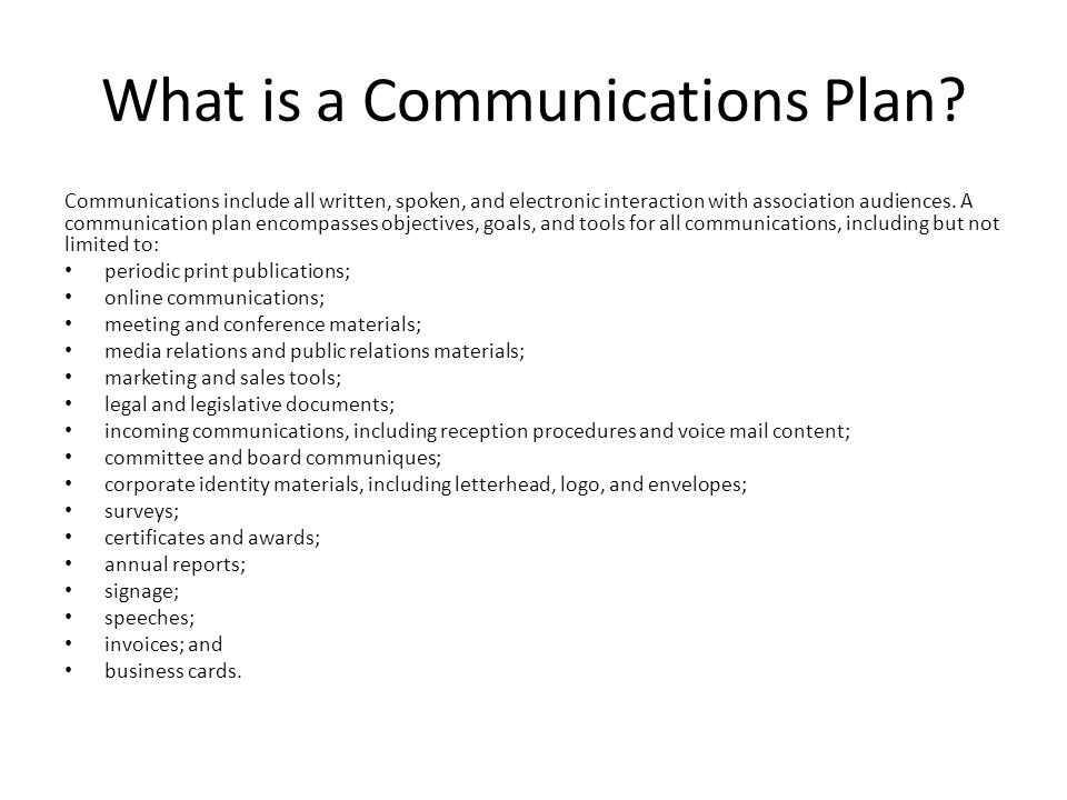 What is a Communications Plan.