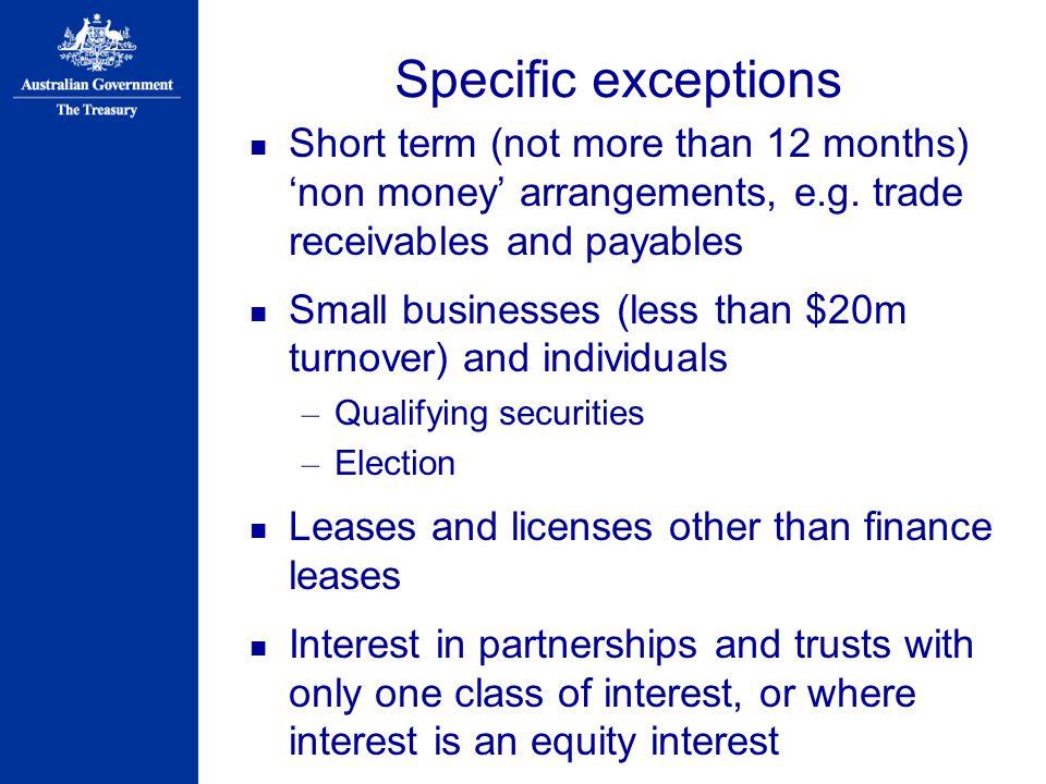Specific exceptions Short term (not more than 12 months) 'non money' arrangements, e.g.