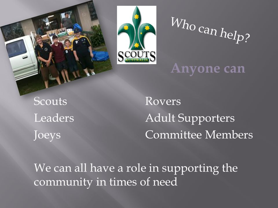 ScoutsRovers LeadersAdult Supporters JoeysCommittee Members We can all have a role in supporting the community in times of need Who can help.