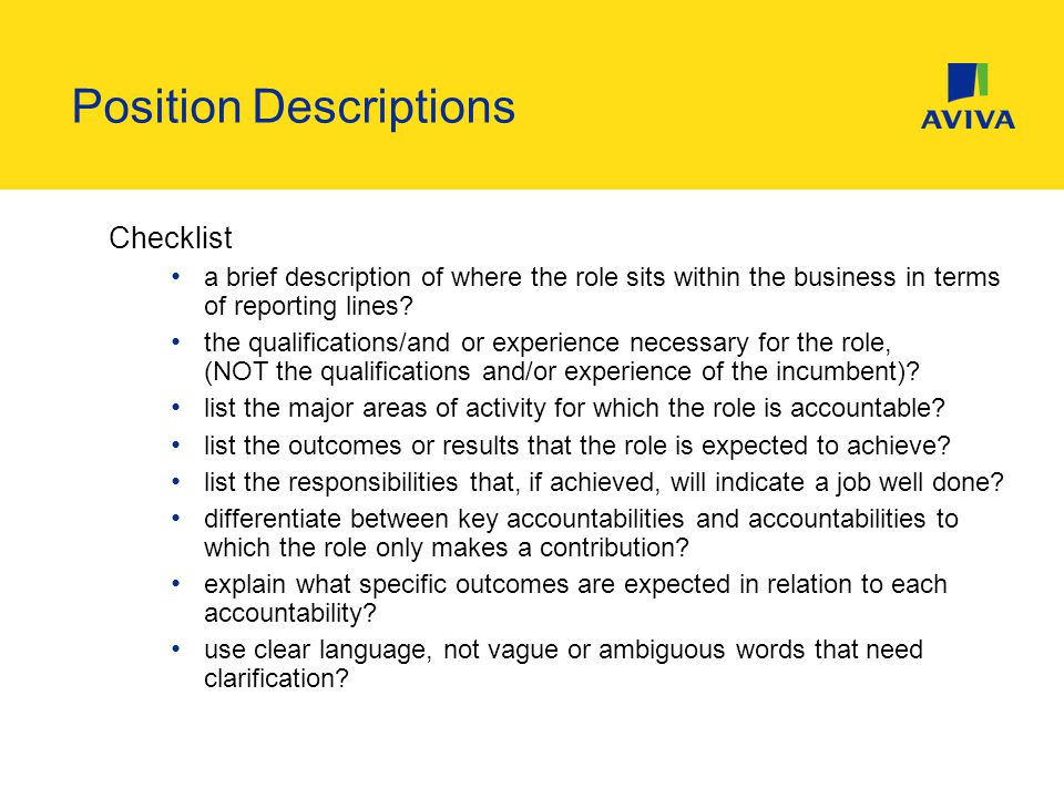 Checklist a brief description of where the role sits within the business in terms of reporting lines.