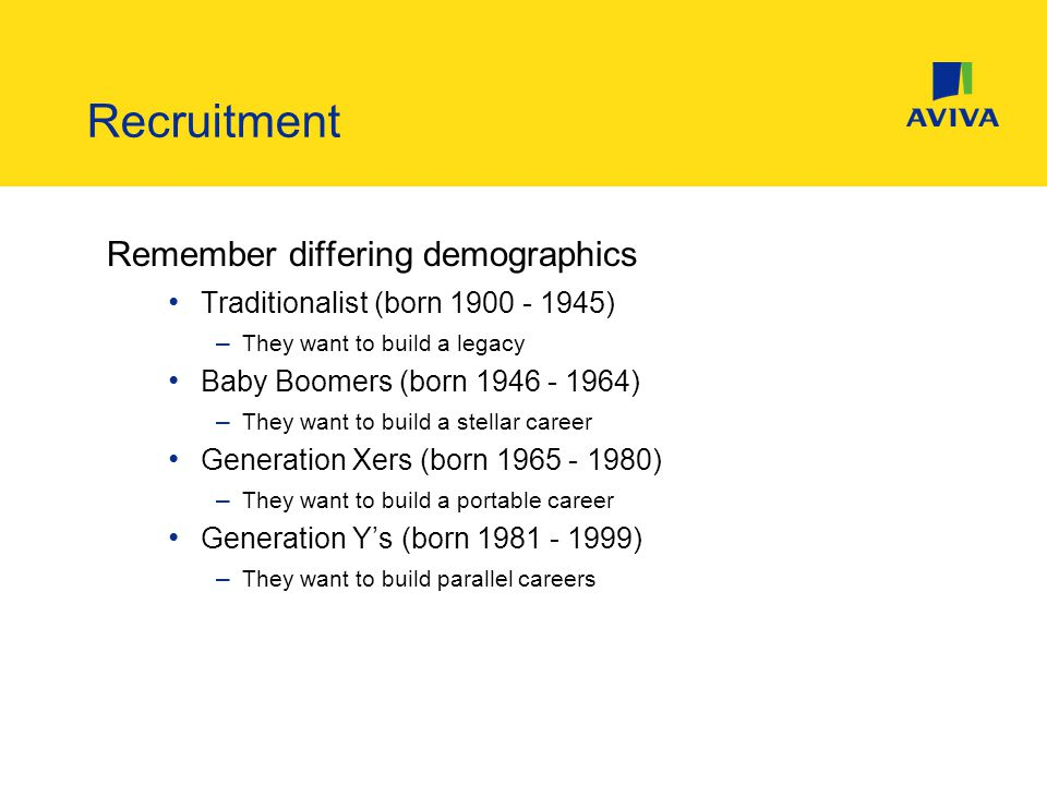 Remember differing demographics Traditionalist (born 1900 - 1945) – They want to build a legacy Baby Boomers (born 1946 - 1964) – They want to build a stellar career Generation Xers (born 1965 - 1980) – They want to build a portable career Generation Y's (born 1981 - 1999) – They want to build parallel careers Recruitment