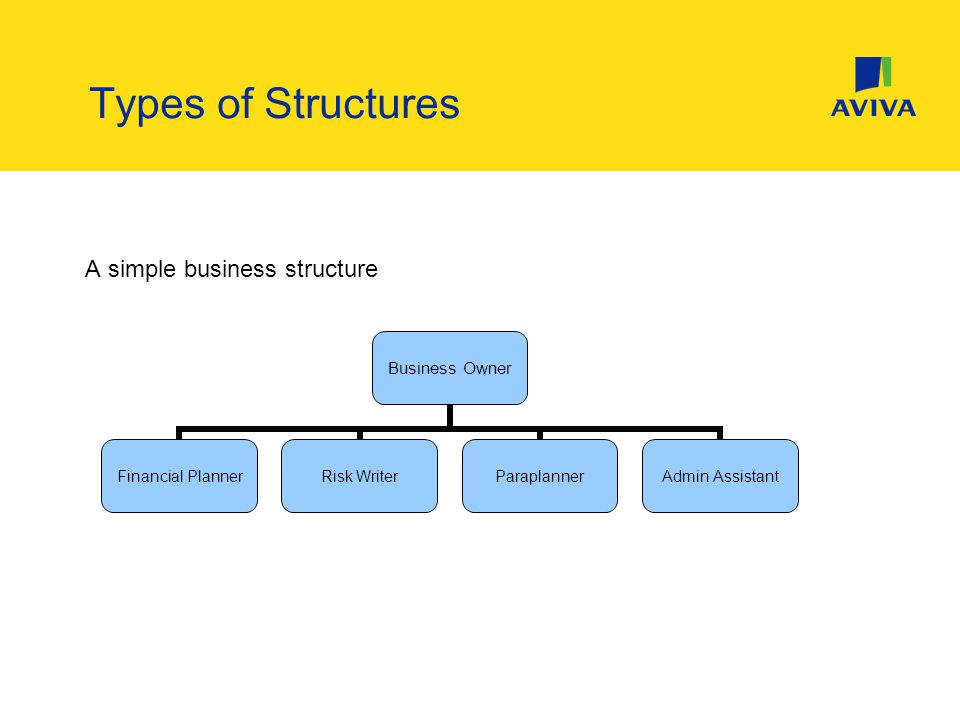 Types of Structures A simple business structure Business Owner Financial Planner Risk WriterParaplanner Admin Assistant